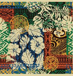 Hawaiian tribal elements and hibiscus fabric vector