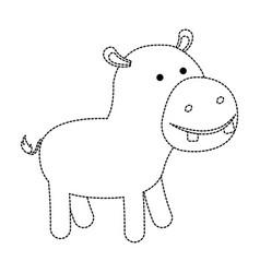Hippopotamus cartoon in black dotted contour vector