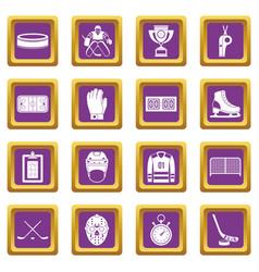 Hockey icons set purple vector