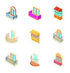 house window icons set isometric style vector image