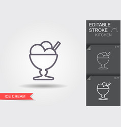 ice cream in vase line icon with editable vector image