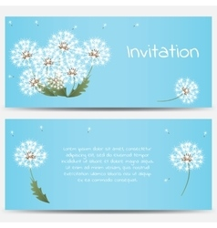 Invitation card with dandelions on blue background vector