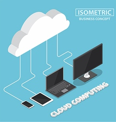 Isometric electronic devices connecting with cloud vector image