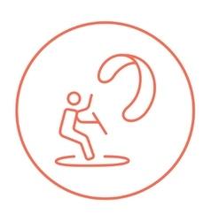 Kite surfing line icon vector