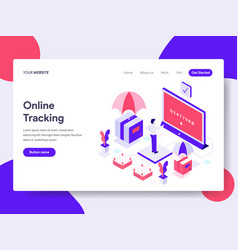 Landing page template of online tracking concept vector