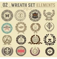 Laurel wreath set Design elements vector