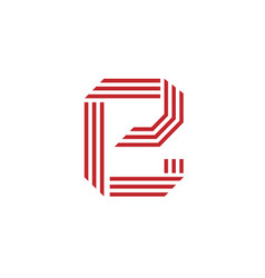 letter e with geometric three strips logo vector image