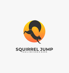 Logo squirrel jump silhouette style vector