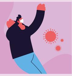 Man in medical face mask fighting coronavirus vector