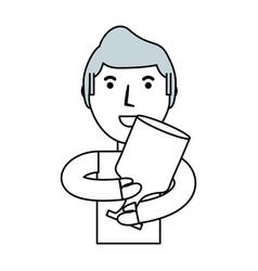 Man with trophy cup cartoon vector