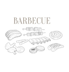 Meat For Barbecue Isolated Hand Drawn Realistic vector image