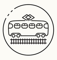 minimal outline tram icon vector image