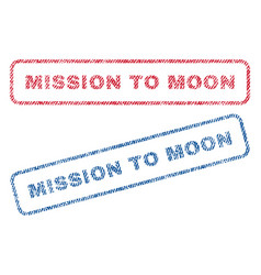 Mission to moon textile stamps vector
