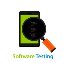 mobile application software testing code vector image