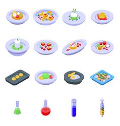 Molecular cuisine icons set isometric style vector