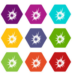 Nucleate explosion icon set color hexahedron vector