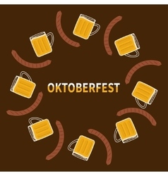 Oktoberfest beer glass mug and sausage round vector