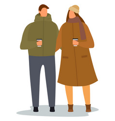 People drinking coffee together couple on date vector