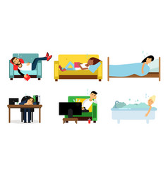 People sleeping in different places on the beds vector