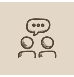 People with speech square above heads sketch icon vector