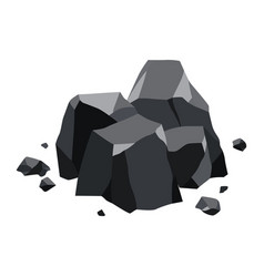 Pile coal fossil stone black mineral vector