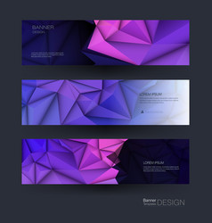 polygon banner set polygonal or low poly pattern vector image