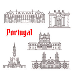 Portugal architecture famous landmark icons vector
