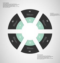 Ring from six parts on light background vector