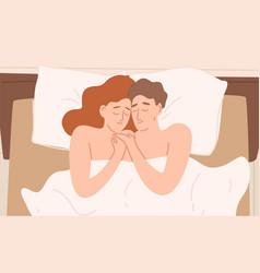 Romantic cartoon couple in bed flat vector
