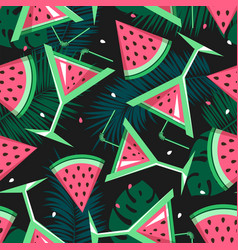 seamless pattern with watermelon slices cocktails vector image