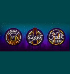 Set of beer logo neon signs logos of emblem in vector
