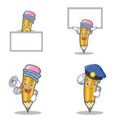 Set of pencil character with board up megaphone vector
