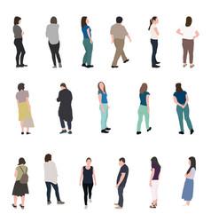 set of silhouette walking people vector image