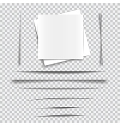 Set of transparent realistic paper shadow effects vector image