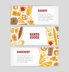 set of web banner templates with delicious bread vector image