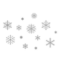 set snowflakes for christmas holidays vector image