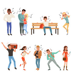 set with people listening music young guys and vector image