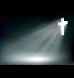 shining cross jesus christ on a dark background vector image