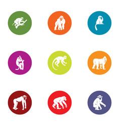 simian icons set flat style vector image