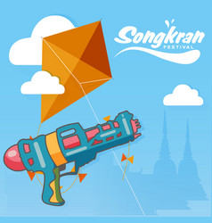 Songkran festival in thailand water gun kite backg vector