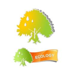 sticker tree vector label design vector image