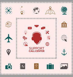 Technical support operator flat icon elements vector