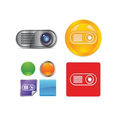 Technology and networking icon set vector image