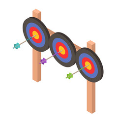 triple archery target icon isometric style vector image