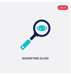 two color magnifying glass searcher icon from vector image