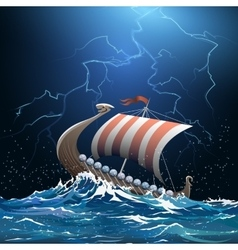 Viking medieval warship in stormy sea vector
