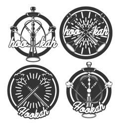 Vintage hookah emblems vector image