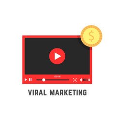 viral marketing with red video player vector image