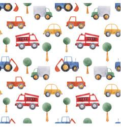 watercolor bacar vehicle pattern vector image