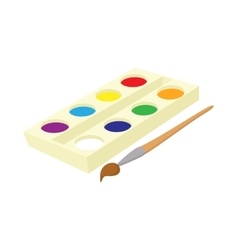 Watercolor in a box with brush icon cartoon style vector